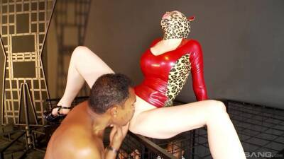 Lucy Latex wearing a mask gets fucked hard in MMF threesome