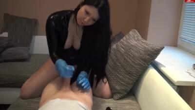 Blue Rubber Gloves Handjob