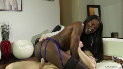 Ana Foxxx And John Strong - Stocking Clad Black Model Rides On Big White Cock. Hd Interracial Porn