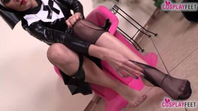 Horny nurse and nun make you cum with their feet in nylons