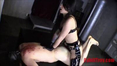 Domme Fucks Naked male slave With Huge Black Dildo Two